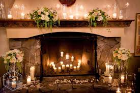 inspiring fireplace design and decoration using small flower and