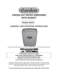 harbor freight tools cross cut paper shredder with basket 93520
