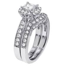 wedding ring sets cheap 1 carat vintage princess cut diamond wedding ring set for women