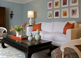 Brown And Blue Home Decor Orange Wall And White Sofa Furniture In Modern Living Room Ideas