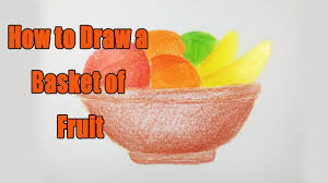 Basket Of Fruit How To Draw A Basket Of Fruit Nice Fruits Drawing Tutorial