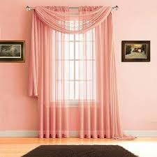 Sheer Coral Curtains Faux Linen Curtains And Sheer Window Scarves In 2 Colors 3 Sizes