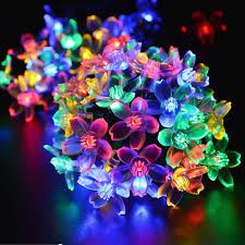 christmas tree flower lights solar fairy holiday string lights 21ft 50 led multi color gardens