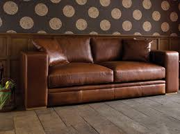 Brown Leather Loveseat Living Room Furniture Polkadot Pattern Wall Paper For Living