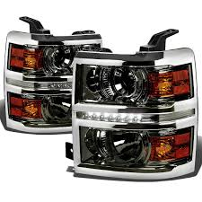 Led Strip Tail Lights by 2014 15 Chevy Silverado 1500 Led Strip Projector Headlights Smoked