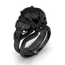black black gold engagement rings skull engagement ring black and from jewelry