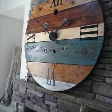 oversized wall clock rustic wall clock clock spool