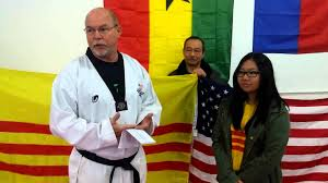 Vietnamese Freedom Flag The Republic Of Vietnam National Flag Is Proudly Displayed At