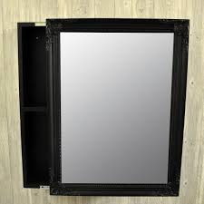 bathroom wall mount mirrored cabinet black finish with sliding