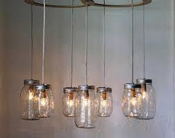 Glass Jar Pendant Light Mason Jar Chandelier Lighting Fixture Large Rustic Mason Jar