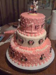 1st Birthday Cake Minnie Mouse 1st Birthday Cake 3 Tier Cakecentral Com