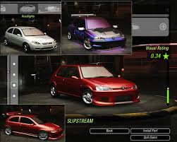 pego car peugeot 106 and vauxhall opel corsa need for speed underground