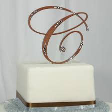 wedding cake toppers letters gold monogram cake topper