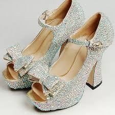 wedding shoes chunky heel sparkling ab prom party shoes chunky heel bridal wedding