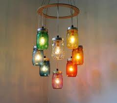 Lamp Design by Rainbow Heart Shaped Mason Jar Chandelier Light Rustic Hanging
