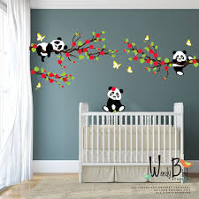 panda wall decals tree wall decals with cherry blossom zoom