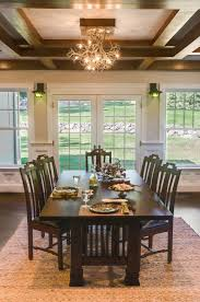 asian neutral dining room with craftsman table and exposed beam