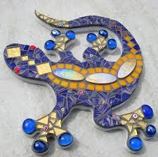 outdoor garden decoration ornament mosaic gecko lizard wall