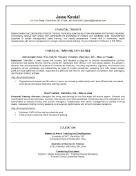 Resume Examples Finance by Free Financial Trainer Resume Example