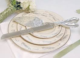 wedding cake serving set embossed wedding cake server set