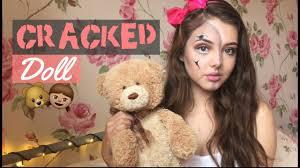 half face halloween makeup halloween makeup half face cracked doll youtube