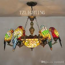 tiffany kitchen lights new style tiffany chandelier light six parrots metal pendent l