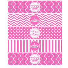pink princess printable water bottle lables