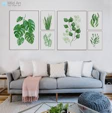 modern watercolor green leaf flowers plant cottage canvas large a4