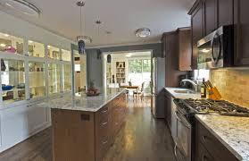 Open Floor Plan Kitchen Dining Room Contemporary Kitchen With Hardwood Floors Open To Dining Room