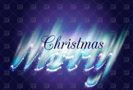 merry christmas in northern lights style vector clipart image