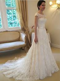 Lace Wedding Dresses Beautiful A Line Princess Scoop Sleeveless Sash Ribbon Belt Court