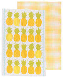 amazon com now designs tea towels pineapples set of 2 home