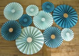 10pc Aqua Teal Rosettes As Seen On Hgtv Mag Paper Fans Wedding
