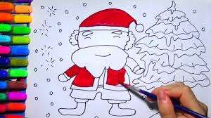 how to draw santa claus and christmas tree learning colour for