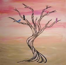 easy tree paintings on canvas tree pink and white wall