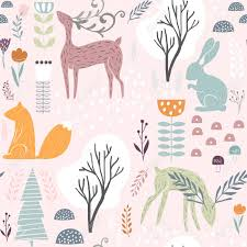 squirrel wrapping paper seamless pattern with bunny squirrel deer creative woodland