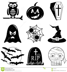 halloween icons set in black and white including owl pumpkin