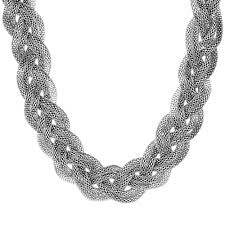 braided necklace images Shop stainless steel mesh braided necklace silver free jpg