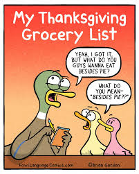 thanksgiving grocery list fowl language comics