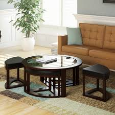 corliving belgrove dark espresso stained coffee table with 4 stools