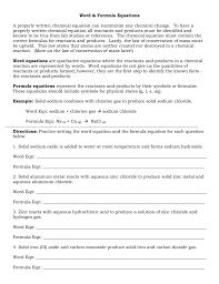 word and formula equations worksheet