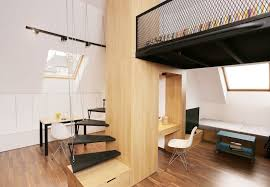 Bedroom And Kitchen Small Apartment With A Loft Bedroom And Bright Open Plan