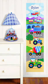 trains planes and trucks wall decal growth chart by olive kids