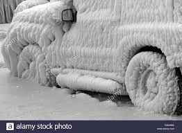 severe winter completely frozen car trapped ice versoix