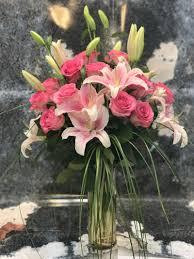stargazer lilies stargazer lilies with a dozen pink roses in fort lauderdale fl