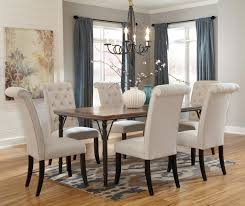6 pc dinette kitchen dining room set table w 4 wood chair signature design by ashley tripton 7 piece rectangular dining room
