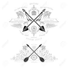 two vintage heraldic element with cross arrows and mythical beast