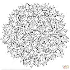 abstract flowers zentangle coloring page free printable coloring