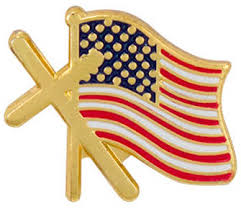cross usa flag lapel pin gold plated