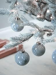 new twelve handmade grey glass baubles tree decorations